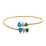 Multi Stone Artemis Adjustable Gold Plated Bangle (DDSBA-19070)