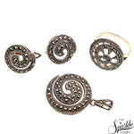 Sterling Silver Pendant Earring & Ring  Jewelry Set