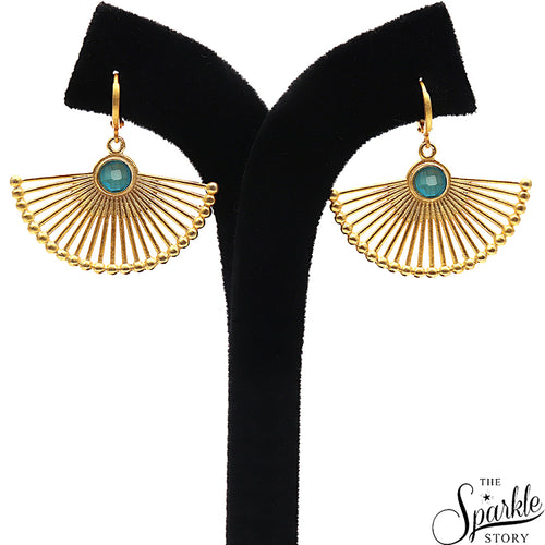 SKY BLUE CHAL DANGLE EARRING GOLD PLATED