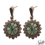 Victorian Style Emerald Sterling Silver Dangle Earring
