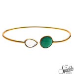 Green Onyx & Crystal Gold Plated Adjustable Bangle Bracelet for Women and Girls