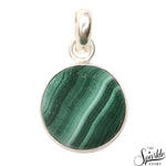Malachite Gemstone Round 25x19mm Sterling Silver Pendant Jewelry