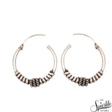 Vintage Wire Wrapped Baali Oxidized Sterling Silver Hoop Earrings
