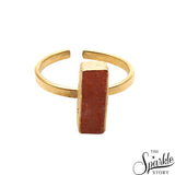 Peach Druzy Rectangle Shape Gold Plated Open Adjustable Ring For Women and Girls