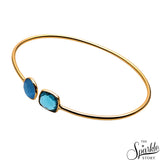 Blue Topaz & Blue Monalisa Gold Plated Adjustable Bangle Bracelet for Women and Girls