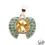 Citrine With Emerald Sterling Silver Pendant