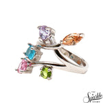 Multi Stone Sterling Silver Free Form Shape Ring