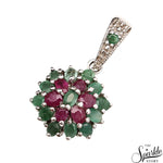 Multistone Emerald & Ruby Sterling Silver Pendant