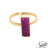 Pink Druzy Rectangle Shape Gold Plated Open Adjustable Ring For Women and Girls