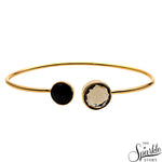 Smokey Topaz & Black Onyx Gold Plated Adjustable Alloy Bangle Bracelet for Women and Girls