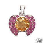 Citrine With Ruby Sterling Silver Pendant