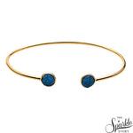 Light Blue Druzy Round 6mm Gold Plated Adjustable Bracelet