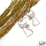 Plain Sterling Silver Cat Dangle Hook Earring