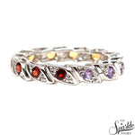 Multi Stone Sterling Silver Round Shape Ring