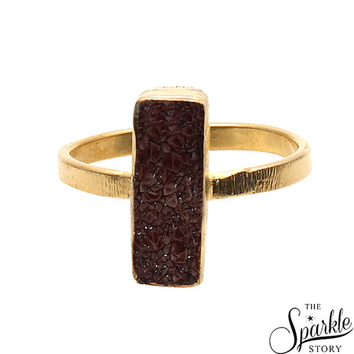Brown Druzy Rectangle Shape Gold Plated Open Adjustable Ring For Women and Girls