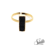 Black Druzy Rectangle Shape Gold Plated Open Adjustable Ring For Women and Girls