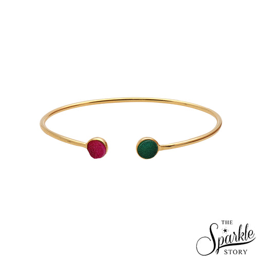 Green & Pink Druzy Gold Plated Round Shape Adjustable Alloy Bangle Bracelet for Women and Girls