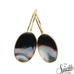 Black Druzy Cab Gold Plated Oval Shape Dangle Earring for Women and Girls
