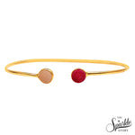 Pink & White Druzy Gold Plated Round Adjustable Alloy Bangle Bracelet