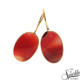 Orange Cabs Druzy Gold Plated Dangle Earrings for Women and Girls