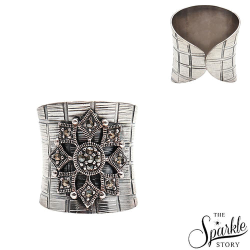 The Sparkle Story Geometric Flower Black Oxidized Sterling Silver Adjustable Ring (DSS-12002)