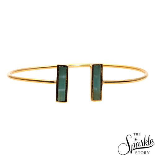 Aqua Chalcedony Gold Plated Rectangle Shape Adjustable Bangle Bracelet for Women and Girls
