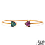Green & Purple Druzy Gold Plated Trillion Adjustable Alloy Bangle Bracelet