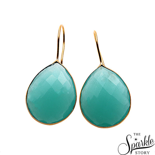 Beautiful Aqua Chalcedony Gold Plated Hook Earring For Women and Girls