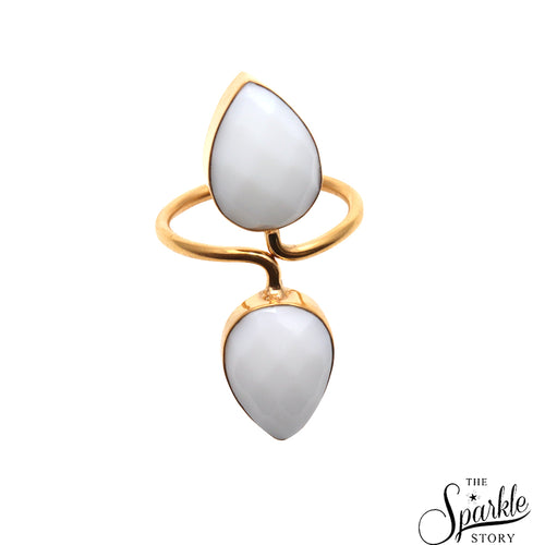 White Agate Adjustable Gold Plated Ring For Women and Girls