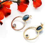 Gemstone Oval Gold Plated Hoop Earring (Pick Stone)