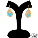 Sky Blue Chalcedony Gold Plated Finding Dangle Lever Back Layla Earring (DGPSB-90018)