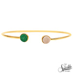 White & Green Druzy Gold Plated Round Adjustable Alloy Bangle Bracelet