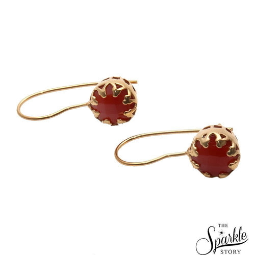 The Sparkle Story Carnelian Gold Plated Round Shape Dangle Earring (DCNER-90149)