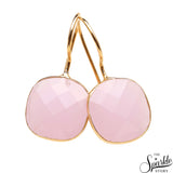 Rose Chalcedony Gold Plated Cushion Shape Alloy Dangle Earrings