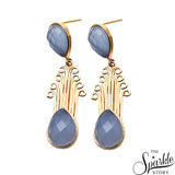 Gemstone Pear Shape Gold Finding Dangle Earring (Pick Stone)