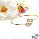 White Opal Adjustable Gold Plated Artemis Bangle (DGPWO-19001)
