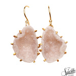 Druzy Geode Gold Plated Free Form Shape Alloy Earrings