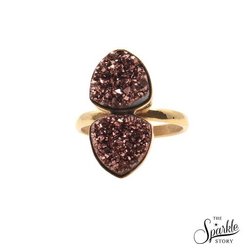 Rose Gold Druzy Gold Plated Ring For Women and Girls