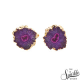 Purple Geode Druzy Stud Gold Electroplated Stud Earring