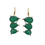Green Onyx Gold Plated Pears Shape Dangle Earrings for Women and Girls