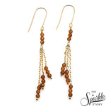 Gemstone Beads Gold Plated Long Drop Earring (Pick Stone)