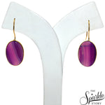Purple Druzy Cab Gold Plated Oval Shape Dangle Earring for Women and Girls