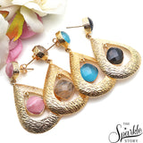 Gemstone With Gold Finding Dangle Stud Osiris Earring (90026)