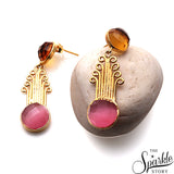 Gemstone Round Shape Gold Finding Dangle Earring (Pick Stone)