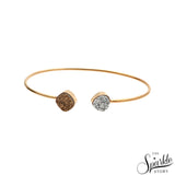 Silver & Golden Druzy Gold Plated Adjustable Alloy Bangle Bracelet for Women and Girls.