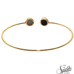 Sliver Druzy Gold Plated Round Shape Adjustable Bangle Bracelet for Women and Girls