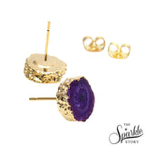 Purple Druzy Stud Gold Plated Stud & Earring