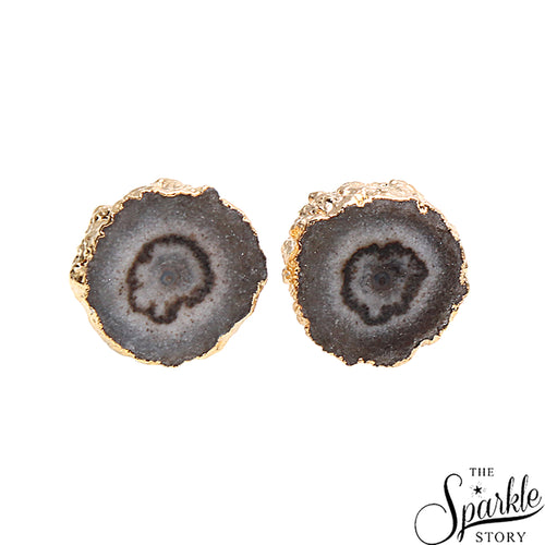 Agate Druzy Stud Gold Electroplated Stud Earring