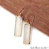 White Chalcedony Earrings Gold Plated Finding Dangle Earring
