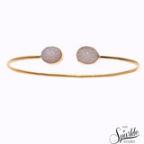 White Druzy Gold Plated Adjustable Bangle Bracelet for Women and Girls